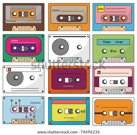 cartoon tape icon - stock vector