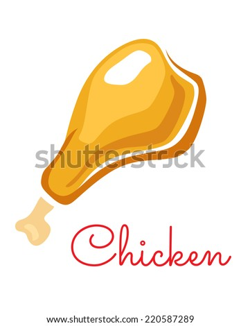 Cartoon tasty roasted chicken leg for poultry food design isolated on white background - stock vector