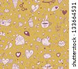 Cartoon tasty romantic seamless pattern. Birds, lips, hearts, coffee and cakes in stylish background. Pattern can be used for wallpapers, pattern fills, web page backgrounds, surface textures. - stock vector