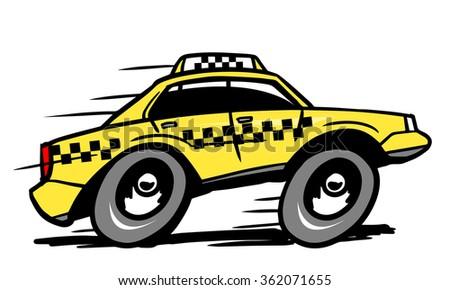 Cartoon taxi - stock vector