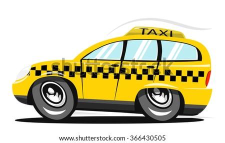 Cartoon taxi car. Vector illustration  - stock vector