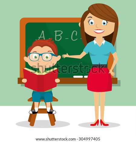 Cartoon teacher and students reading a book  - stock vector