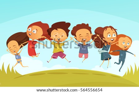 cartoon team cheerful friends holding hands stock photo (photo