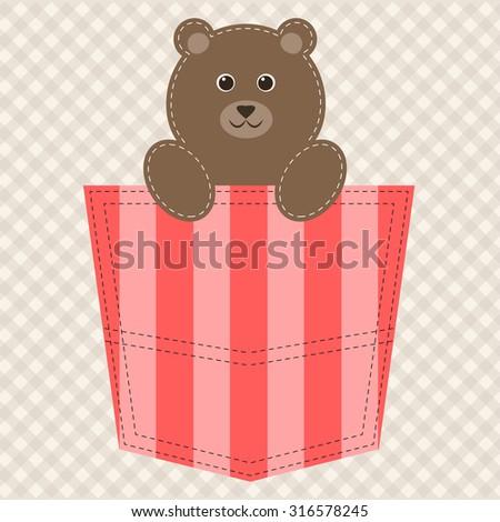 cartoon teddy bear in pocket - stock vector