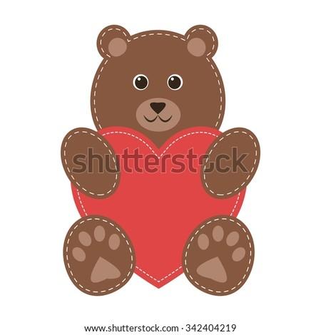 cartoon teddy bear with red heart - stock vector