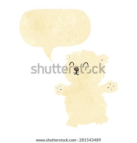 cartoon teddy bear with speech bubble - stock vector