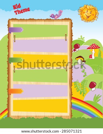 Cartoon Template with Signboard - stock vector
