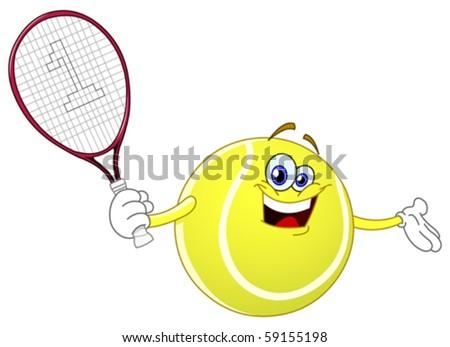 Cartoon tennis ball holding his racket - stock vector