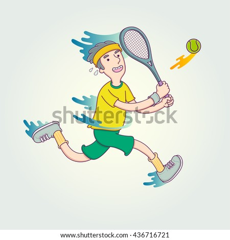 Cartoon tennis player. Vector Illustration character design sport in trendy linear style. - stock vector