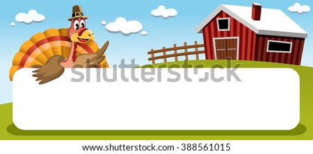 cartoon thanksgiving turkey with pilgrim hat in a countryside landscape looking at blank white banner - stock vector