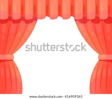 Cartoon theater. Cartoon theater curtain on a white background. The scene of the theater, the spectacle. Red side scenes on stage. Stock vector - stock vector