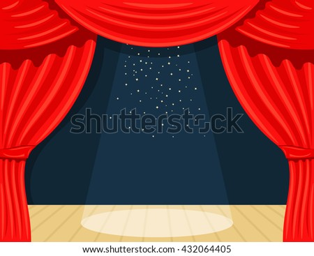 Cartoon theater. Theater curtain with spotlights beam and stars. Open theater curtain. Red silk side scenes on stage. Stock vector - stock vector