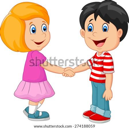 Cartoon their children holding hands - stock vector