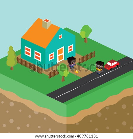 cartoon theme isometric house - people cartoon - stock vector