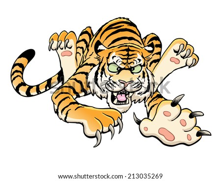 Cartoon Tiger Leaping - stock vector