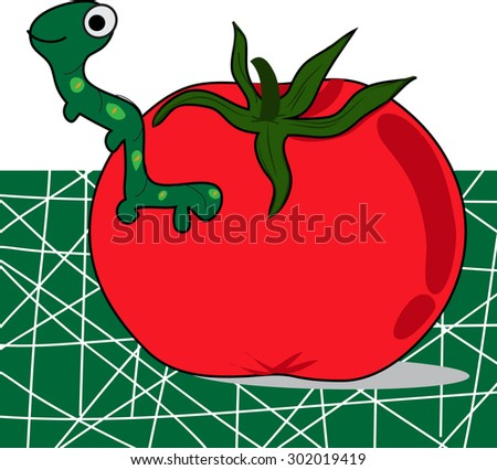 cartoon tomato with worm, green background - stock vector