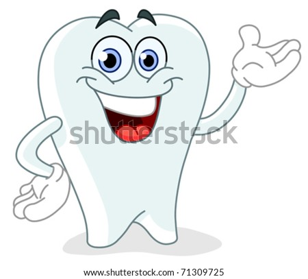 Cartoon tooth - stock vector