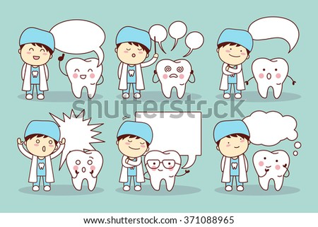cartoon tooth and dentist with speech bubble, great for your design - stock vector