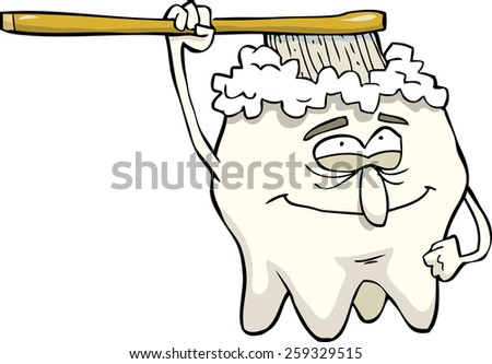 Cartoon tooth brush cleans itself vector illustration - stock vector