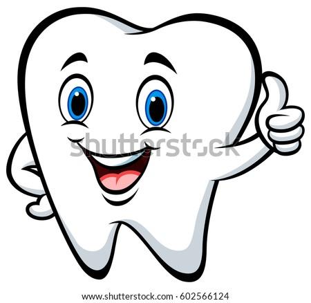 Cartoon Tooth Giving Thumb Stock Vector 602566124