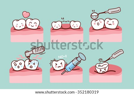 cartoon tooth with dental equipment, great for health dental care concept - stock vector