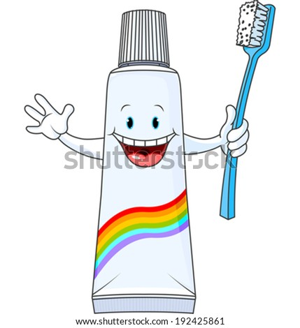 Cartoon Toothpaste Character holding toothbrush - stock vector