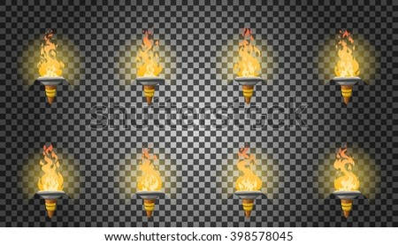 Cartoon torch with fire animation on transparent background with dancing halo. Vector illustration for 2d games. - stock vector