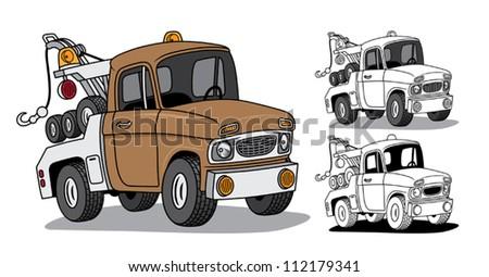 Cartoon Tow Truck - stock vector