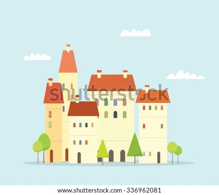 Cartoon town. Simple cityscape with trees - stock vector