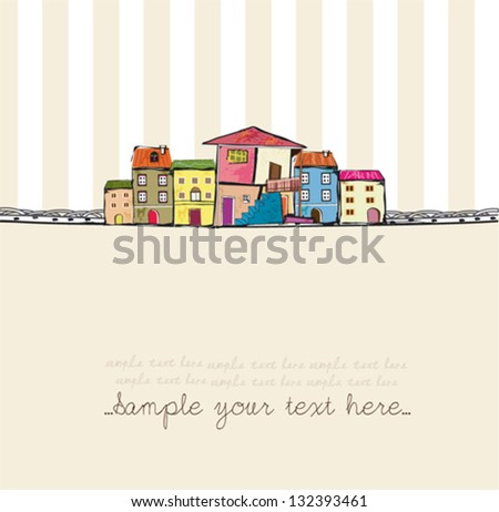 cartoon town with frame - stock vector