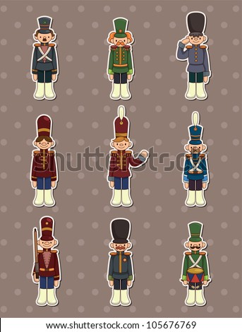 cartoon Toy soldiers stickers - stock vector