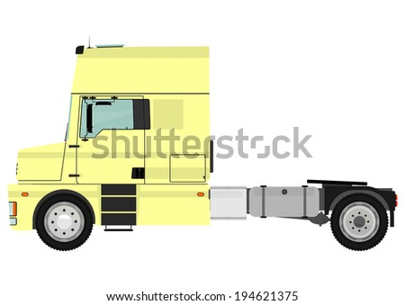 Cartoon tractor unit isolated on a white background. Vector. - stock vector