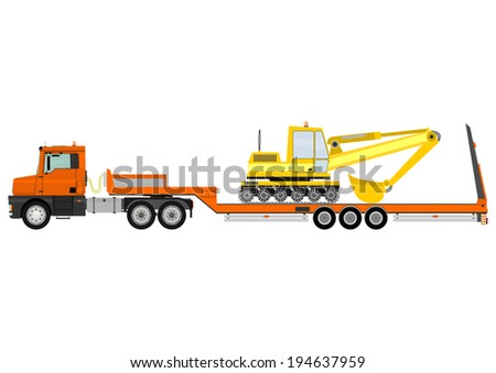Cartoon tractor unit with a heavy trailer isolated on white background. Vector