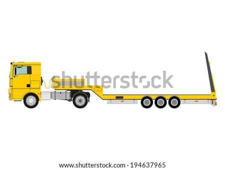 Cartoon tractor unit with a heavy trailer isolated on white background. Vector  - stock vector