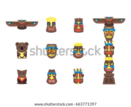Cartoon Traditional Religious Totem Color Icons Stock Vector