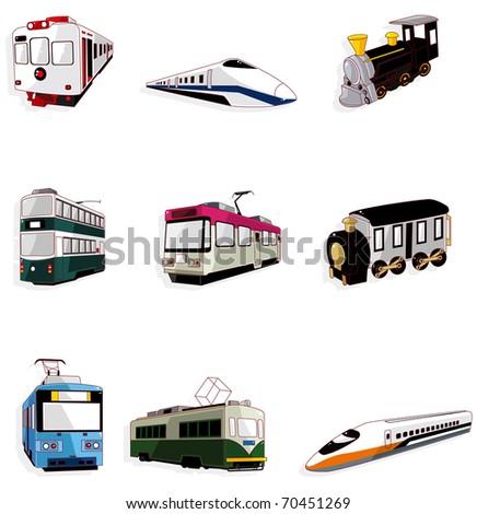 cartoon train icon - stock vector