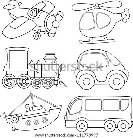 Cartoon Transport Coloring Book