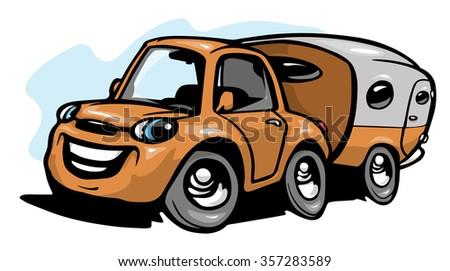 Cartoon travel car with camper - stock vector