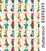 cartoon travel people seamless pattern - stock vector