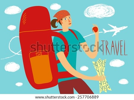 Cartoon traveler girl with large backpack and map. Backpacker illustration  - stock vector