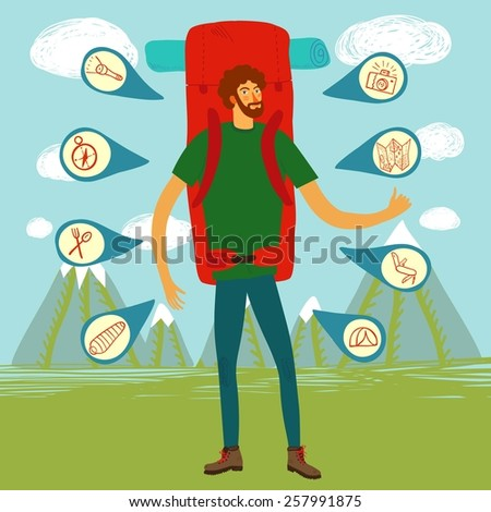 Cartoon traveler hitchhiker with a large backpack and map. Backpacker illustration  - stock vector