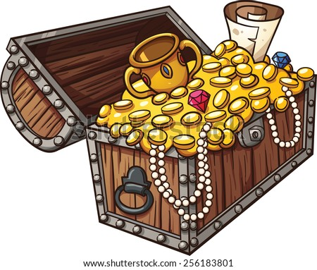 Cartoon treasure chest. Vector clip art illustration with simple gradients. All in a single layer. - stock vector