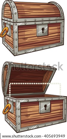Cartoon treasure chest. Vector clip art illustration with simple gradients. Each element on a separate layer.  - stock vector