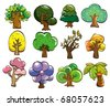 cartoon tree icon - stock vector