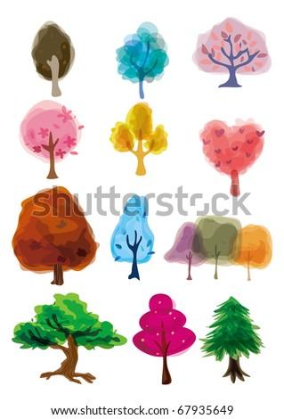 cartoon tree icon - stock vector