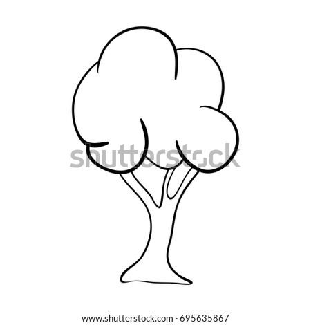 Cartoon Tree Outline Vector Symbol Icon Stock Vector 695635867