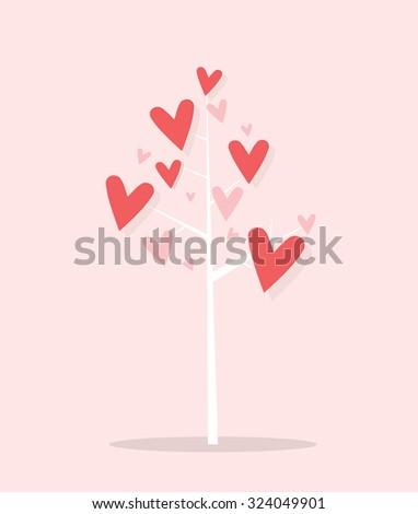 cartoon tree with hearts - stock vector
