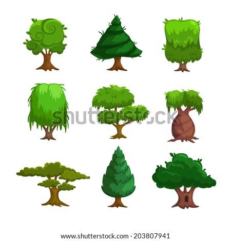 Cartoon trees, vector set - stock vector