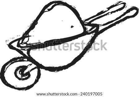 cartoon trolley for construction,  vector design element - stock vector