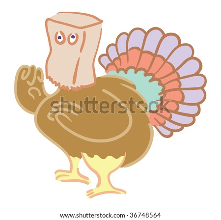 Cartoon turkey hiding with paper bag over its head - stock vector